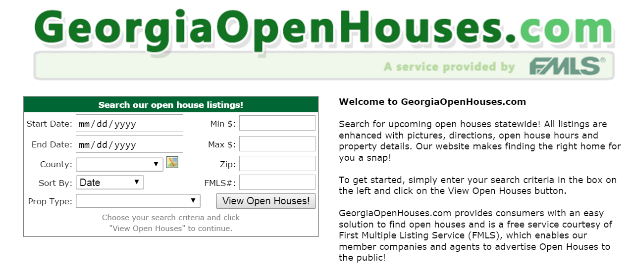 georgia open houses